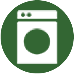 "An icon showing a washing machine to represent the section of the tenant guide called ""common areas."""