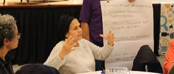Image of a tenant speaking during a group discussion at the 2017 Tenant Conference