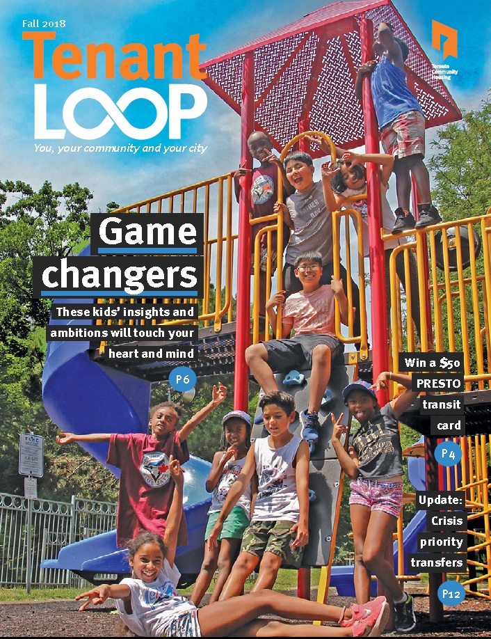 Tenant Loop cover page: Kids are stadning around the jungle gym or playground.