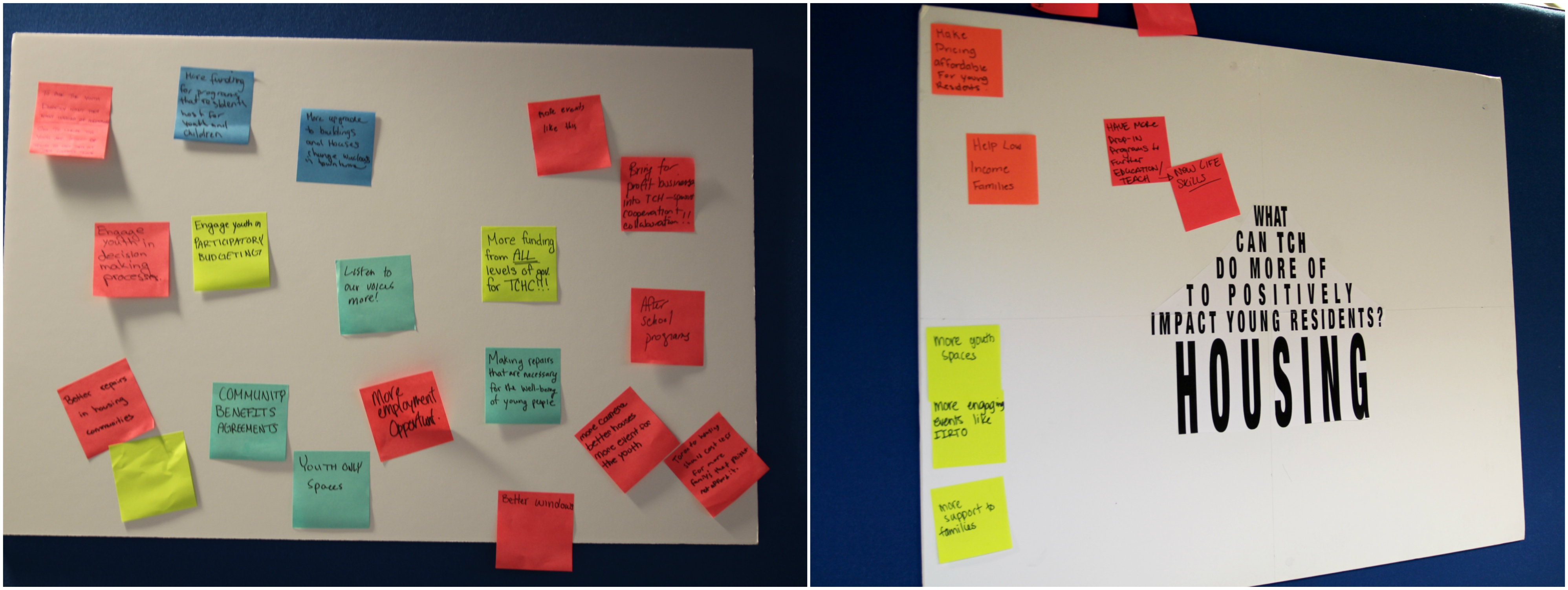 Sticky notes with ideas about how to improve TCHC posted on boards.