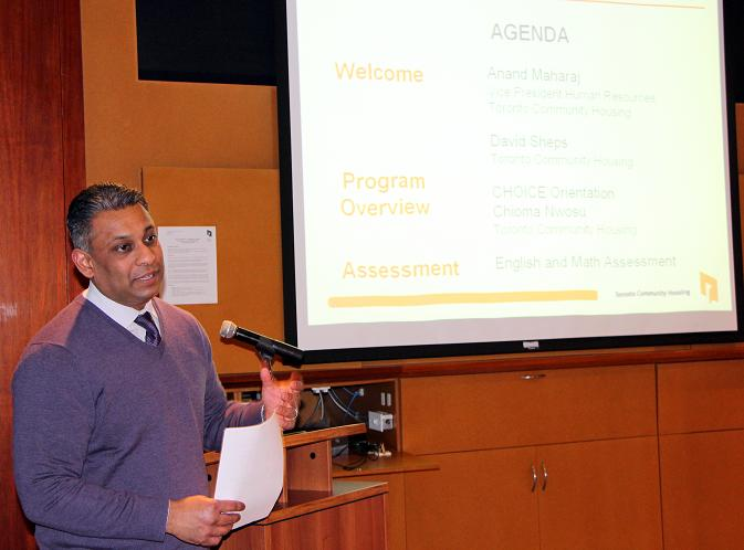 Anand introduces the agenda for the CHOICE program�s information session.