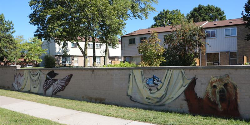 A section of the mural painting along Victoria Park Avenue, north of Finch Ave., East.