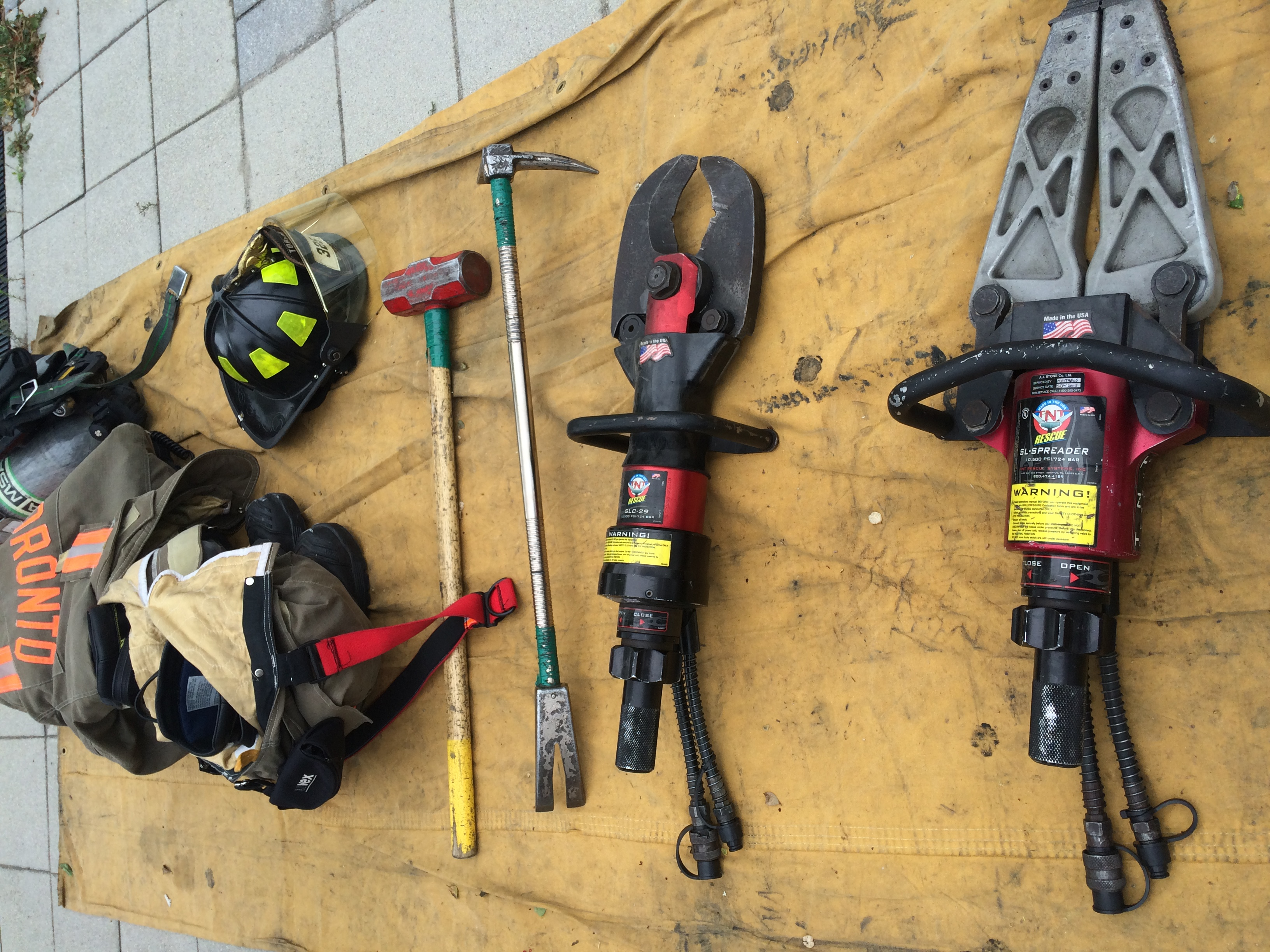 A photo of tools that fire fighters use during safety missions.