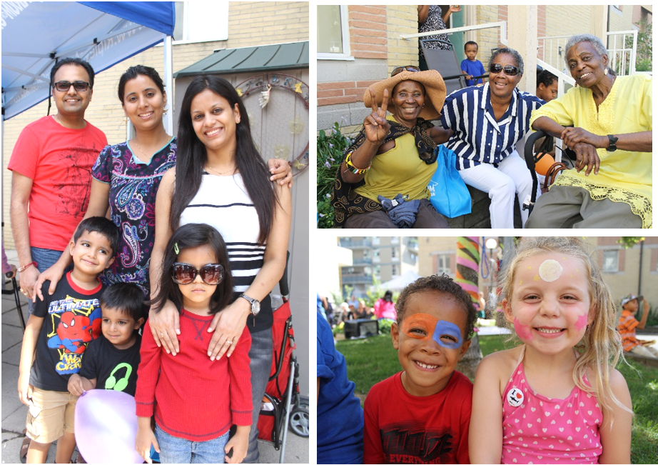 Residents from the Bishop Tutu community enjoy a community BBQ.