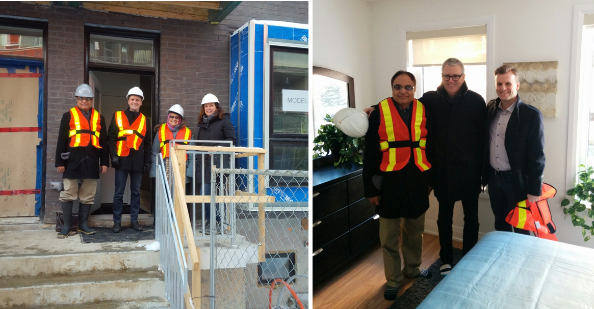 Waseem takes a tour of the very first model home at Alexandra Park with MPP Adam Vaughan, city councillor Joe Cressy and staff.