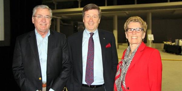 Toronto Community Housing Interim President and CEO Greg Spearn, Toronto Mayor John Tory and Ontario Premier Kathleen Wynne ​