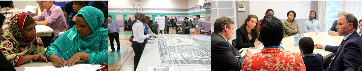 Images of residents and staff meeting with Mayor John Tory and other officials.