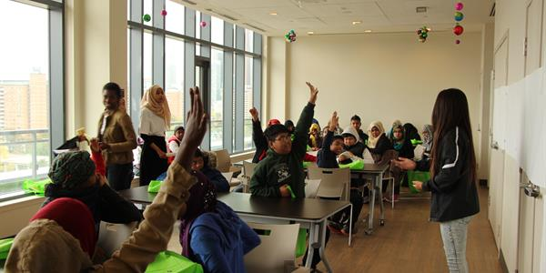 Youth learned about the history of the Regent Park Revitalization project in a workshop