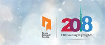 Toronto Community Housing on the left and Happy new year 2018 Text Design vector on the right.