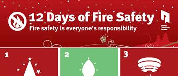 This poster shows images with accompanying text on 12 ways to be safe during the holiday season.