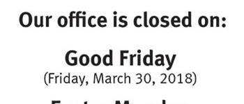Good Friday closure
