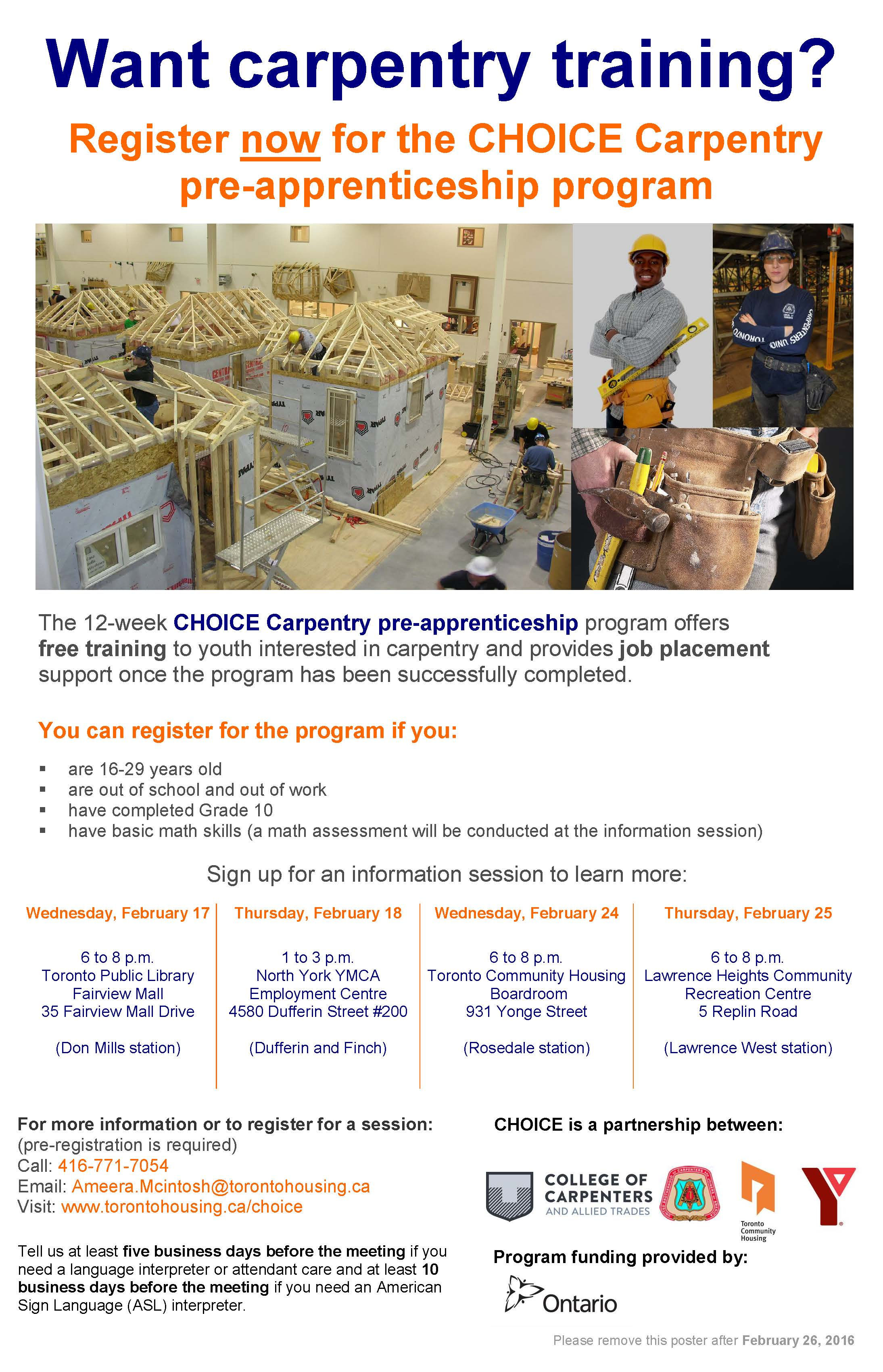 Information on carpentry training