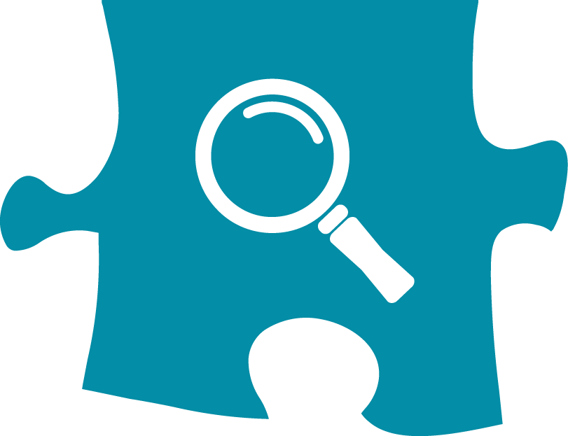 magnifying glass icon on a teal puzzle piece