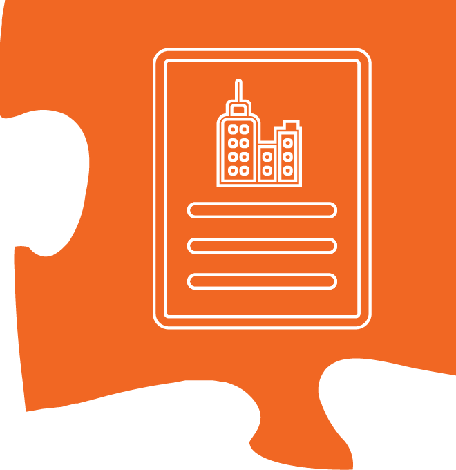 building profile icon on an orange puzzle piece