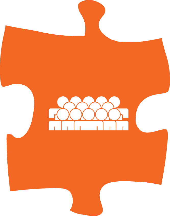 A group of people on an orange puzzle piece.