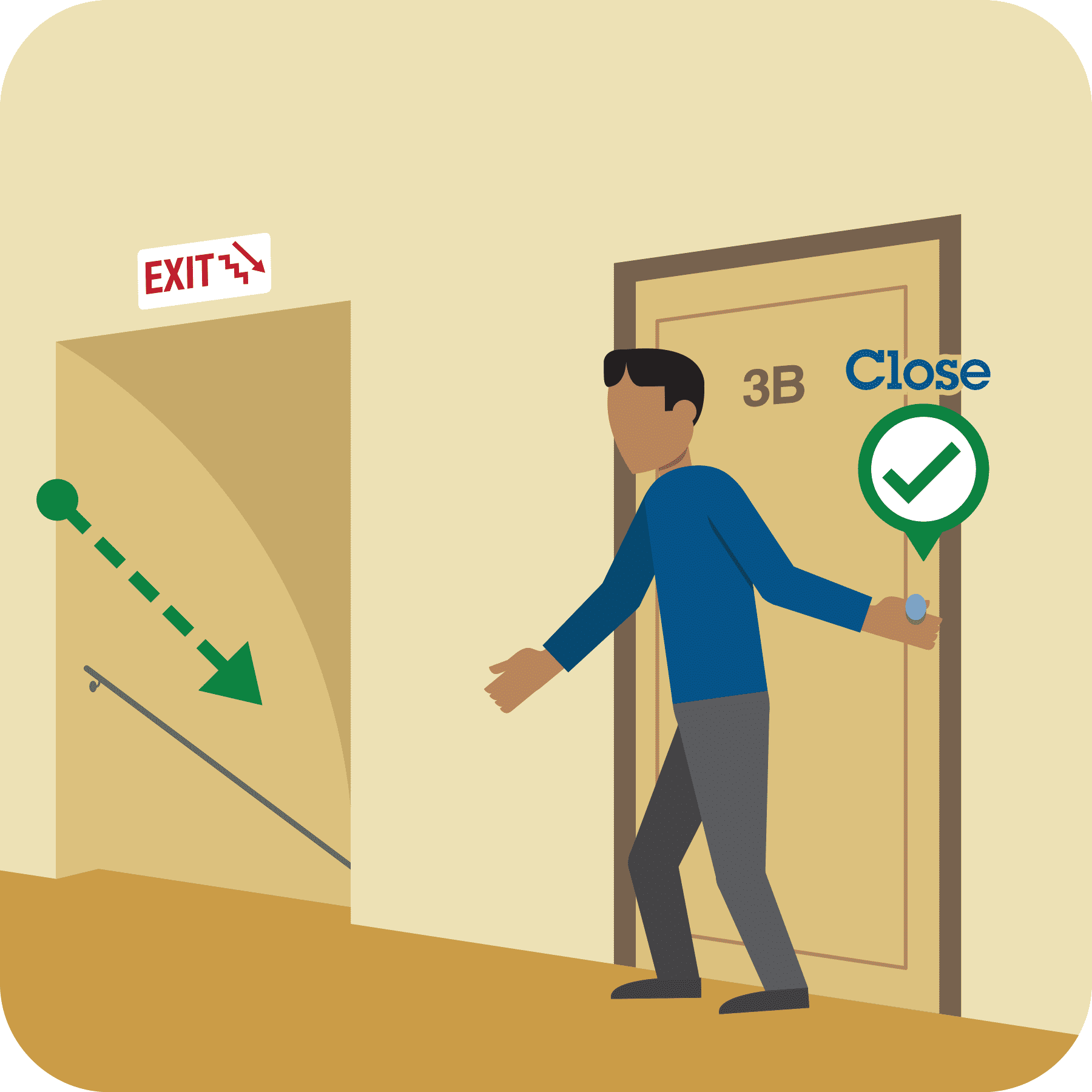A man is closing an apartment door behind him, and there is an arrow pointing to the stairs