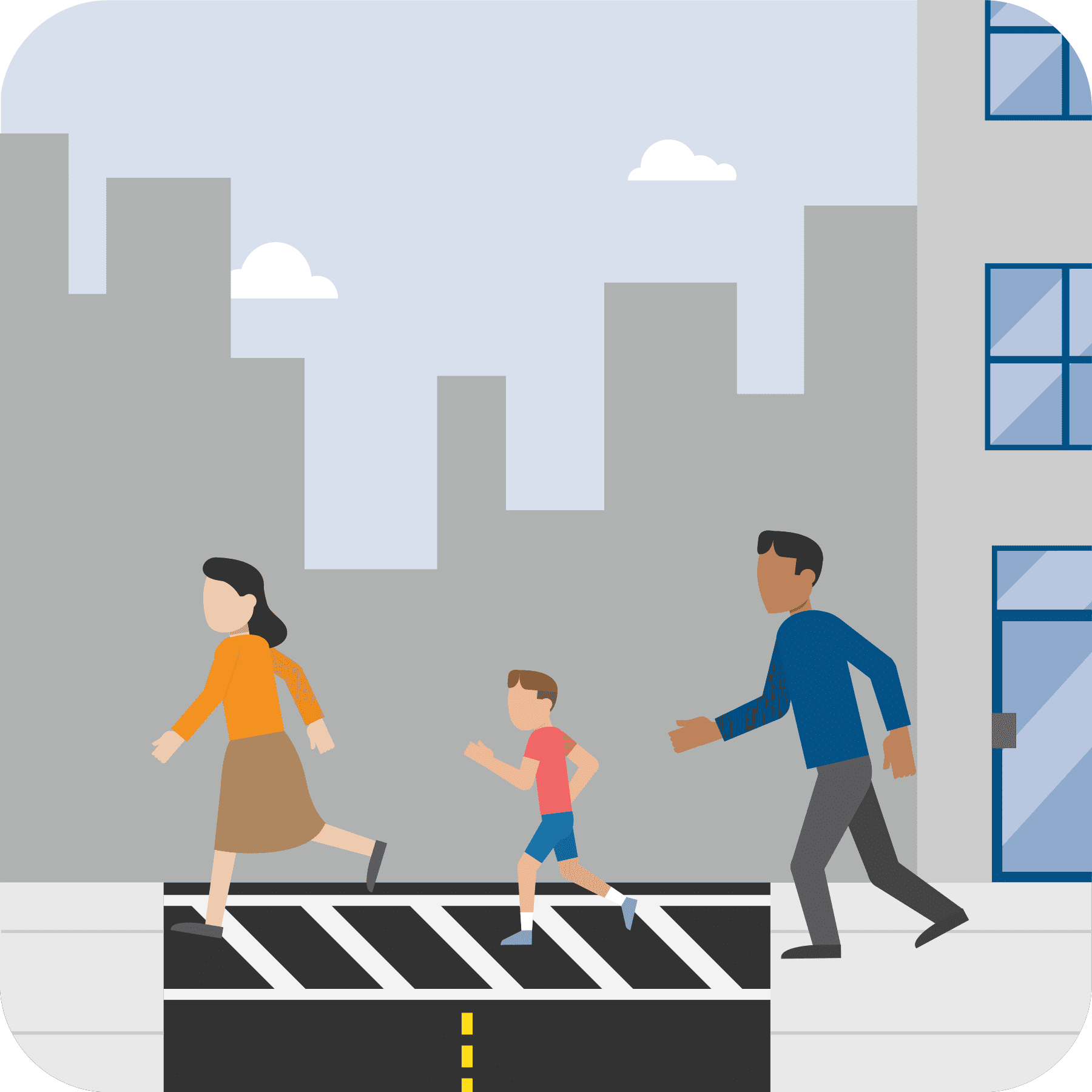 A woman, young child and man are exiting a building and crossing the street to a safe place