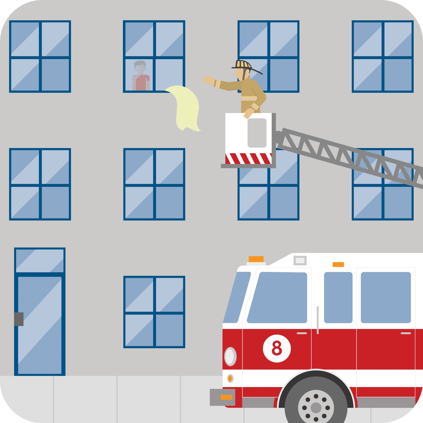 A young child has hung a bright cloth out of a window and a firefighter is rescuing him from a fire truck