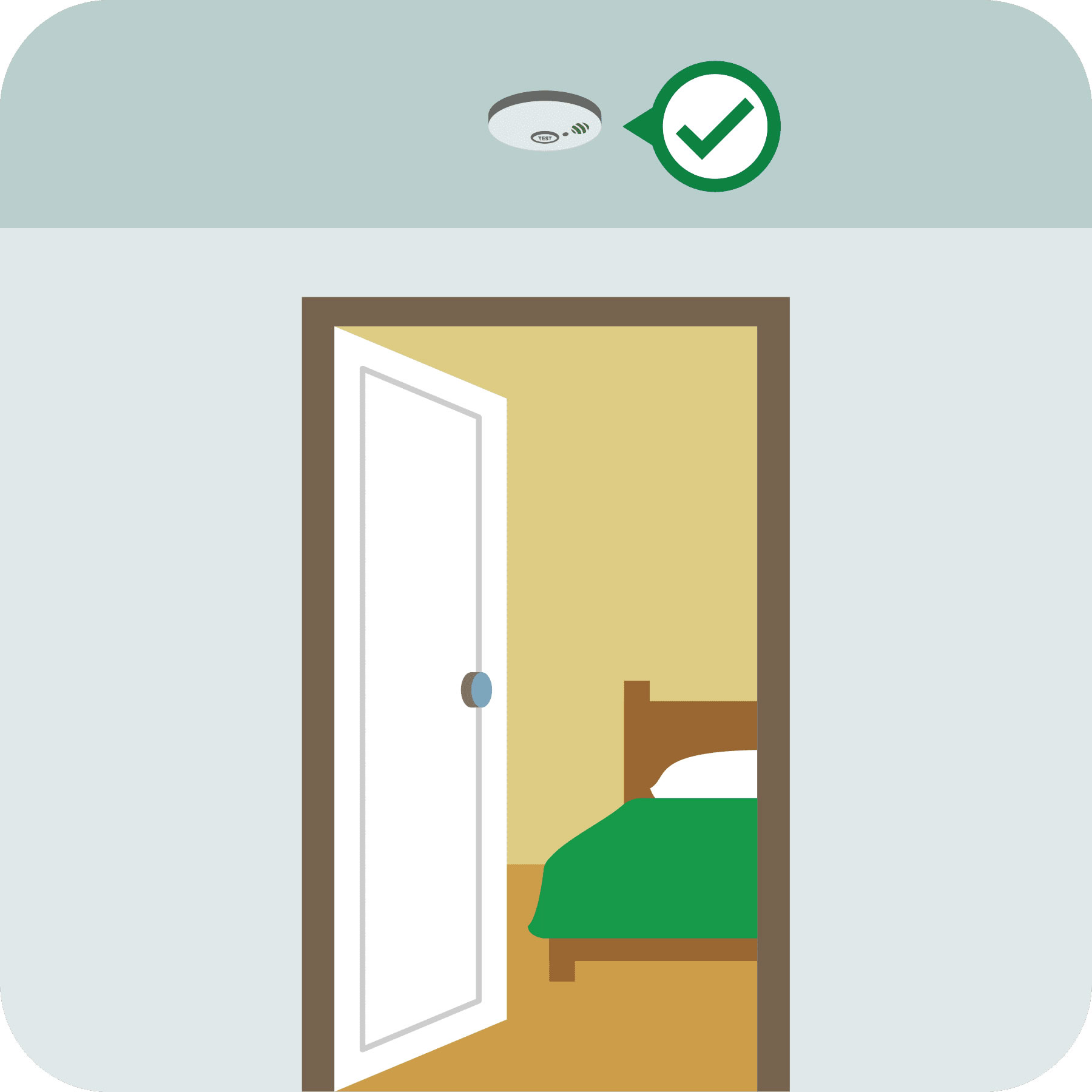 A smoke alarm is properly installed outside an open bedroom door