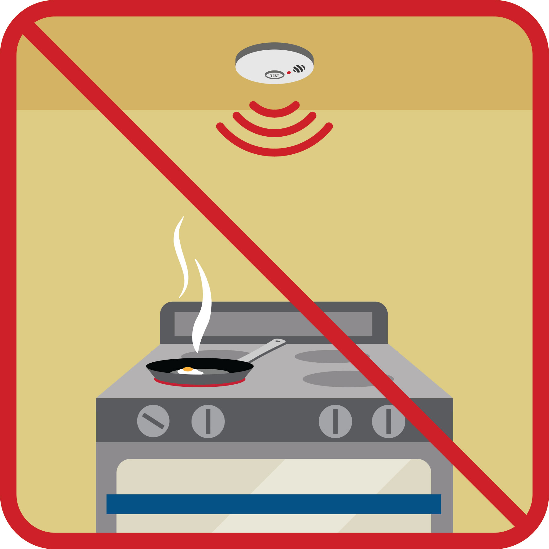 A smoke alarm is located right above a stove top and there is a red line through the image to indicate it was wrong