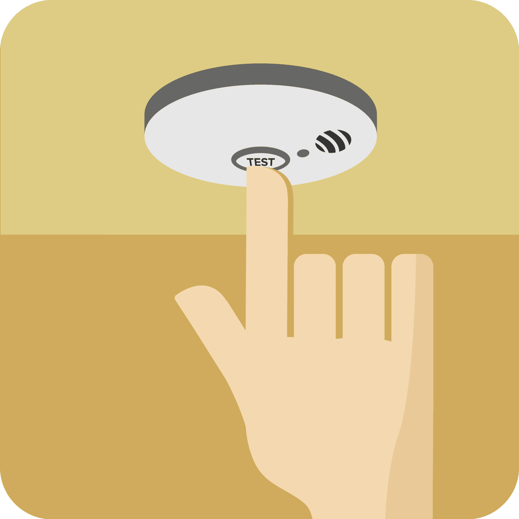 A hand pressing the test button on the smoke alarm